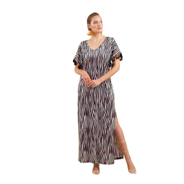 Ανάλαφρο φόρεμα maxi  σε ελαστικό ζέρσεϊ ύφασμα